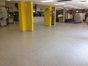 Concrete floor coating for showroom