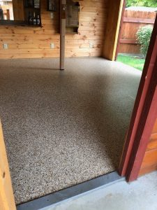 garage floor coating in outdoor shed
