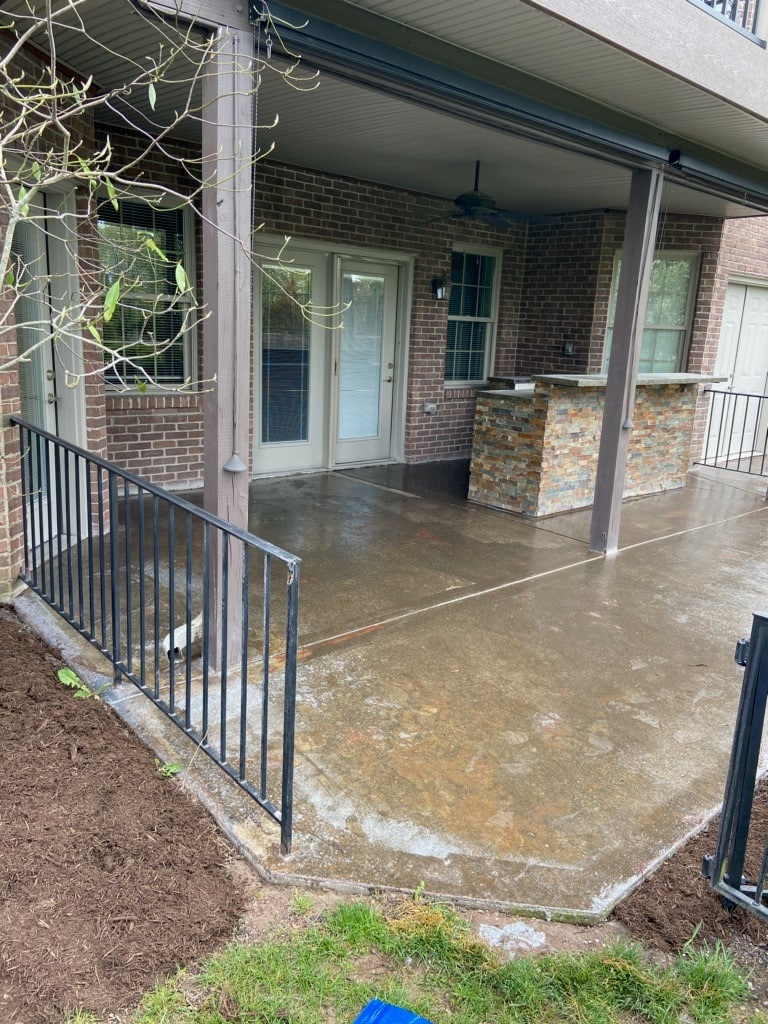before finishing a back patio